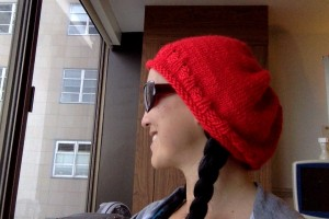 January 11, first hat that I've ever knit! Probably too big for a chemo cap, so I may give it away.