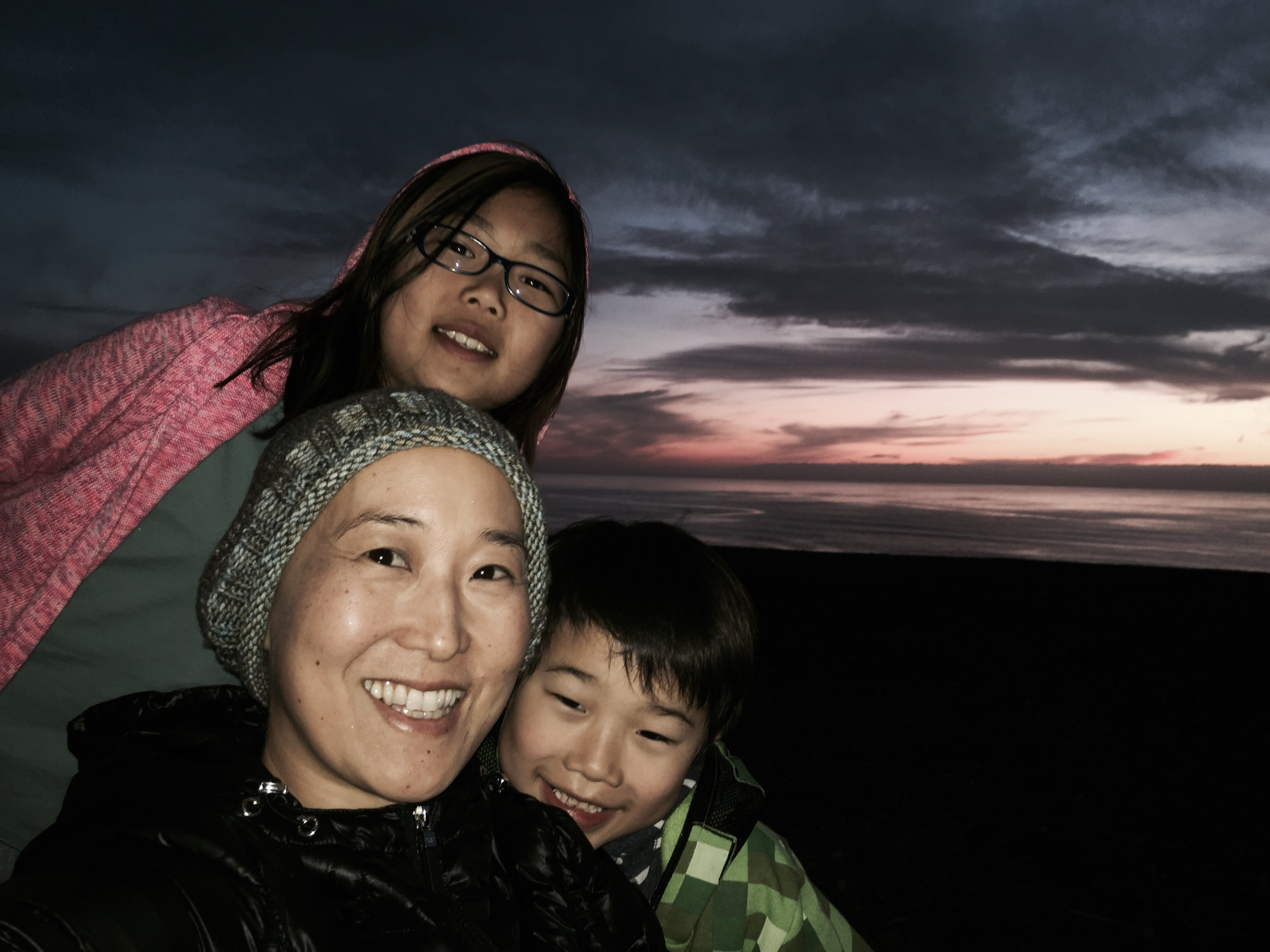 with Zoë and Griffin at Fort Funston during sunset